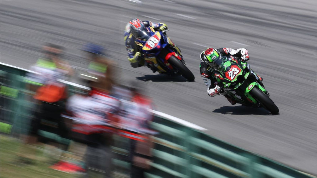 Corey Alexander (23) beat Jake Lewis (85) by a fraction of a second in Stock 1000 Race Two. Photo by Brian J. Nelson, courtesy MotoAmerica.