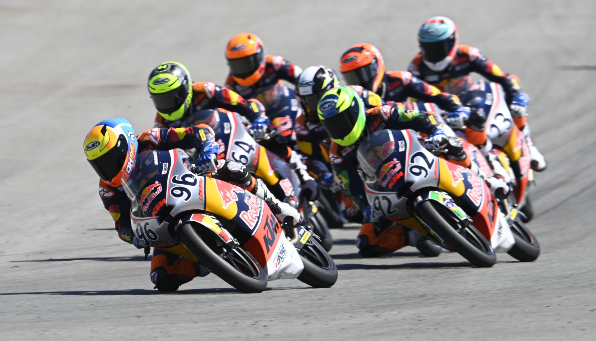Daniel Holgado (96) leading a group of riders during Red Bull MotoGP Rookies Cup Race Two at Jerez. Photo courtesy Red Bull.