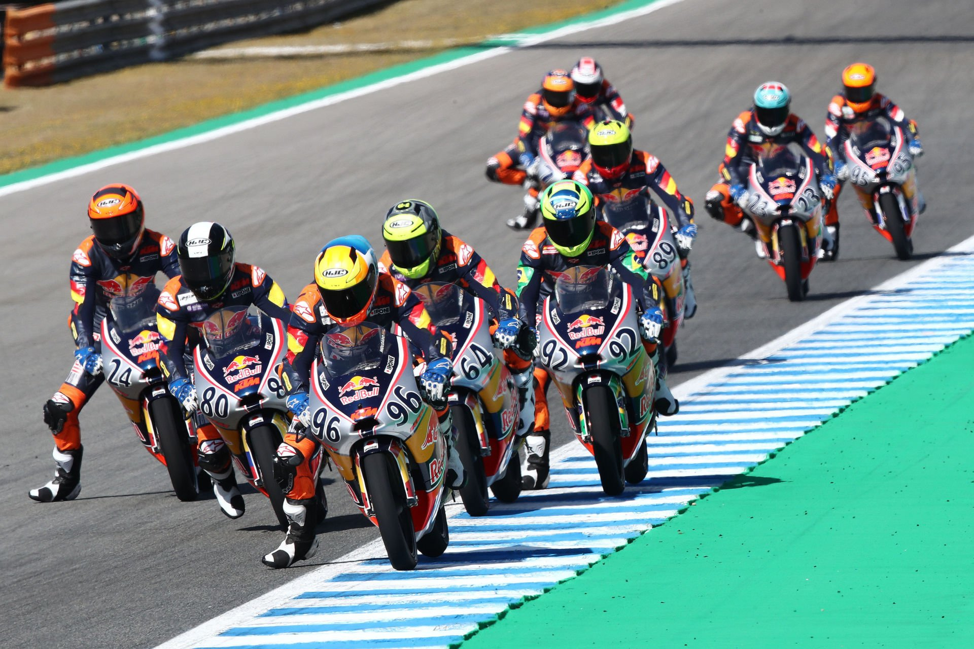 David Holgado (96) leads Red Bull MotoGP Rookies Cup Race One. Photo courtesy Red Bull.