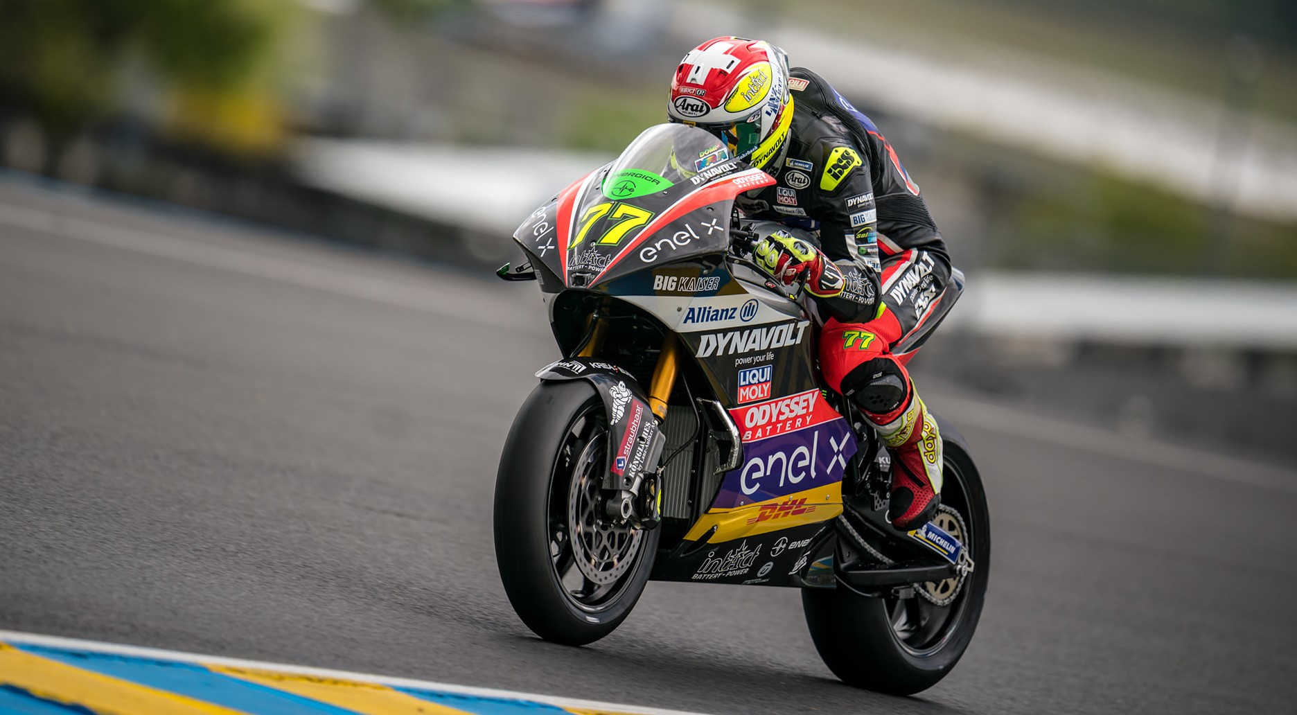 Dominique Aegerter (77) during FP1 at Le Mans. Photo courtesy Dynavolt Intact GP.