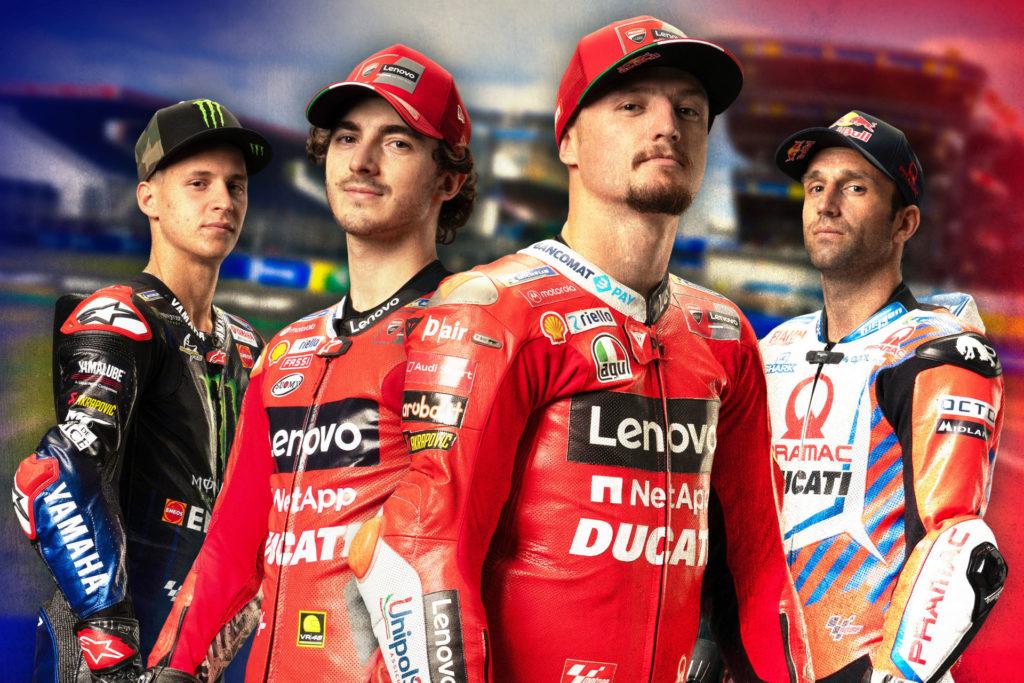 (From left) Fabio Quartararo, Francesco Bagnaia, Jack Miller, and Johann Zarco. Image courtesy Dorna.