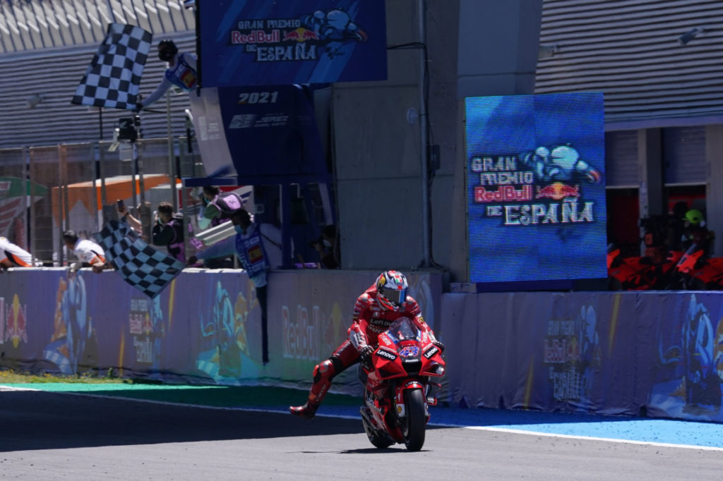 Jack Miller (43) takes the checkered flag at Jerez. Photo courtesy Dorna.