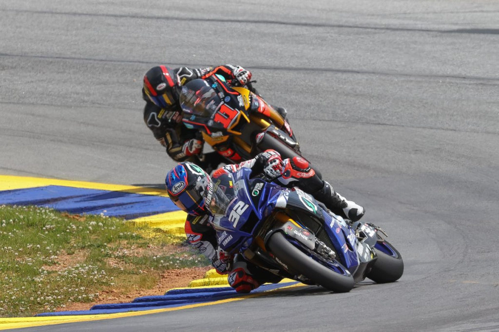 Jake Gagne (32) leads Mathew Scholtz (11) during Superbike Race Two at Road Atlanta. Photo by Brian J. Nelson, courtesy MotoAmerica.