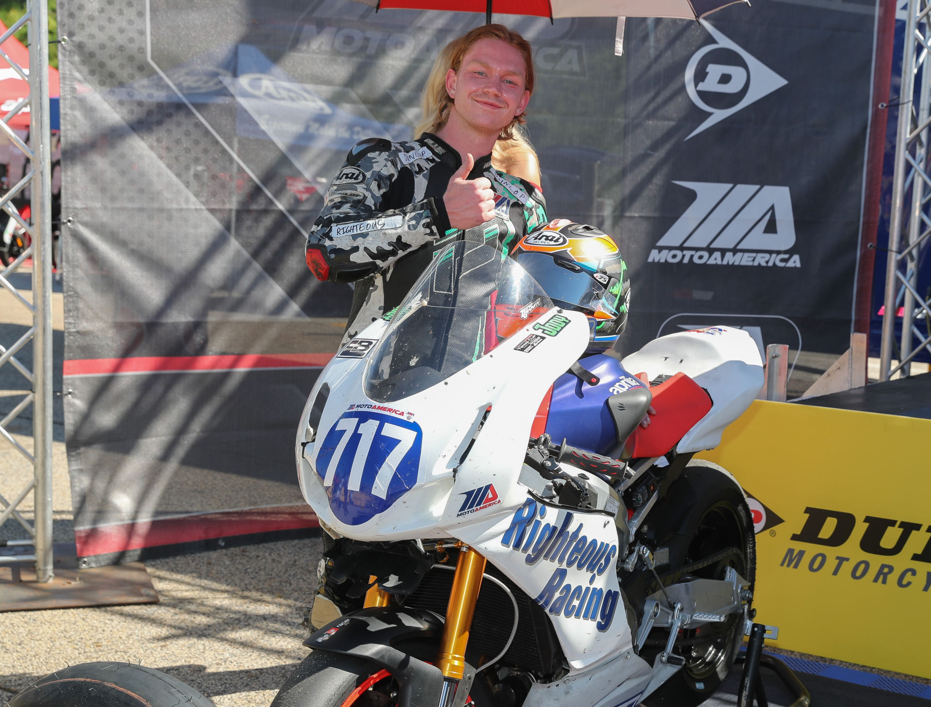Jody Barry in victory circle after finishing second in MotoAmerica Twins Cup Race One at Road Atlanta. Photo by Brian J. Nelson.