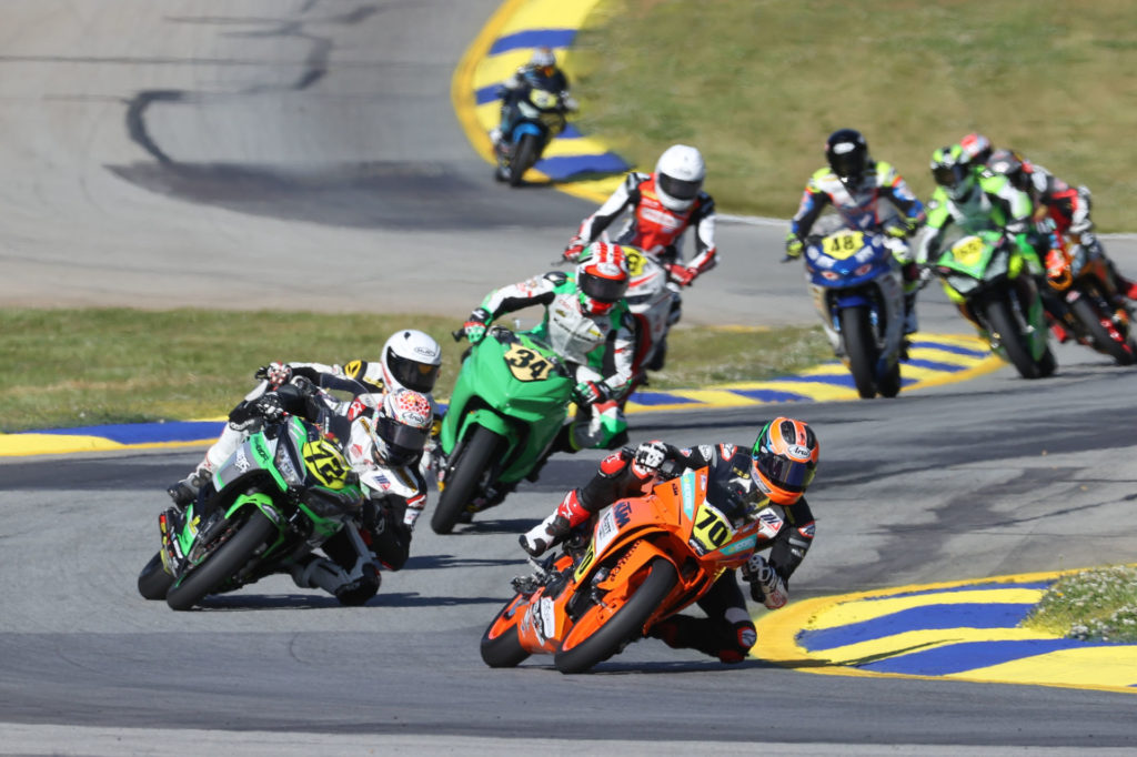 Tyler Scott (70) leads Ben Gloddy (72), Cody Wyman (34) and the rest of the Junior Cup field at Road Atlanta. Photo by Brian J. Nelson, courtesy MotoAmerica.