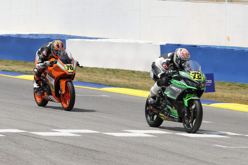 Ben Gloddy (72) held off yesterday's winner Tyler Scott (70) to earn his first-ever SportbikeTrackGear.com Junior Cup race victory. Photo by Brian J. Nelson, courtesy MotoAmerica.