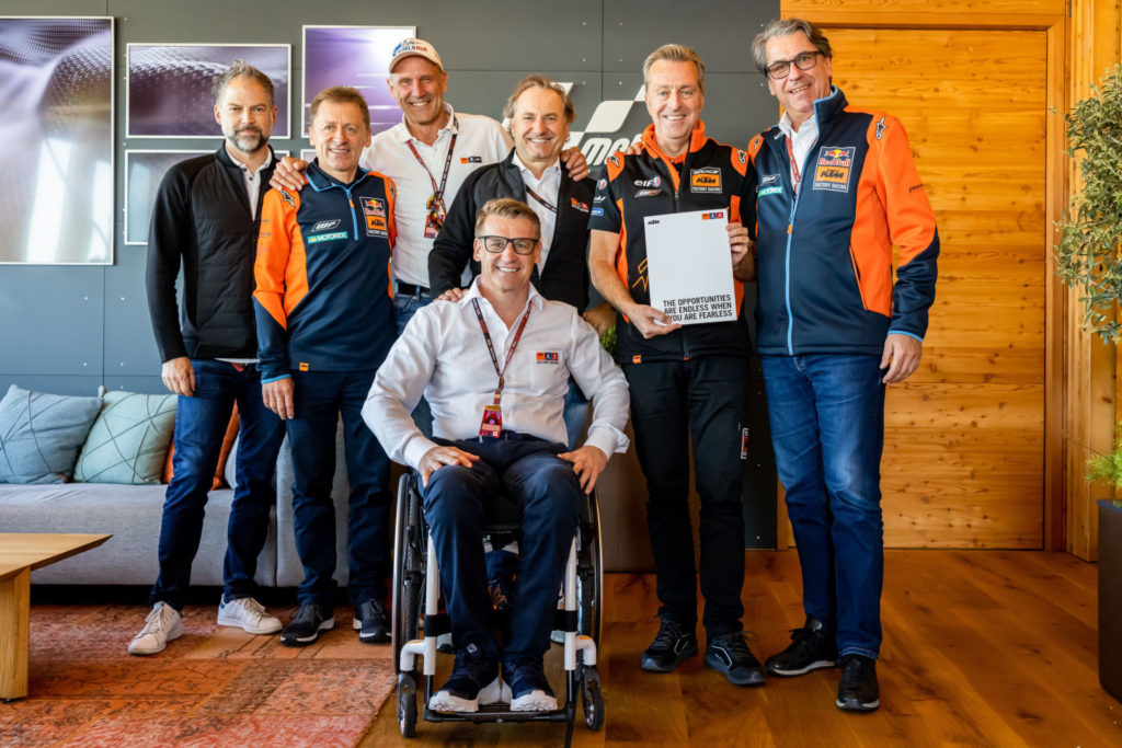 (From left) Jens Hainbach, Mike Leitner, Heinz Kinigadner, Pit Beirer, Hubert Trunkenpolz, Hervé Poncharal and Stefan Pierer. Photo courtesy KTM Factory Racing.