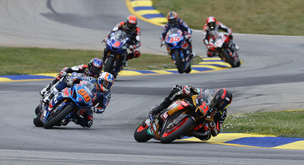 Mathew Scholtz (11) leads Bobby Fong (50), Jake Gagne, Josh Herrin (2), Cameron Petersen (45), and Loris Baz (76) at Road Atlanta. Photo by Brian J. Nelson, courtesy Westby Racing.