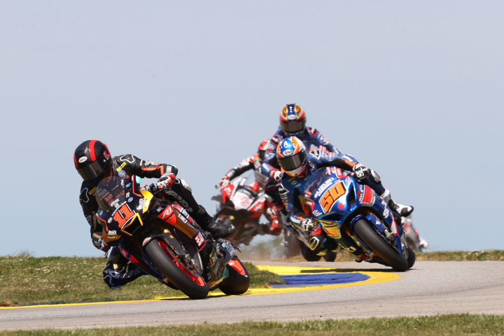 Mathew Scholtz (11) leads Bobby Fong (50) in MotoAmerica HONOS Superbike Race One at Road Atlanta. Photo by Brian J. Nelson, courtesy MotoAmerica.