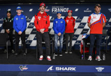 MotoGP World Championship stars and Northern Talent Cup competitors (from left) Fabio Quartararo, Franco Morbidelli, Hungarian-American Rossi Moor, Francesco Bagnaia, Belgian Lorenz Luciano, Jack Miller, Johann Zarco, and Czech Jakub Gurecky at the pre-event press conference at Le Mans. Photo courtesy Dorna.