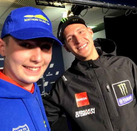 Ahead of the race weekend, Rossi Moor participated in the pre-event press conference, where he got to take a photo with Fabio Quartararo. Photo courtesy Fairium NGRT.