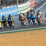 Hungarian-American Rossi Moor (92) leads the start of Northern Talent Cup Race One at Le Mans. Photo courtesy Dorna.