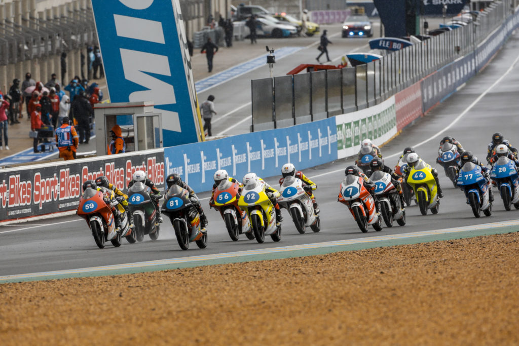 The start of Northern Talent Cup Race Two at Le Mans. Photo courtesy Dorna.