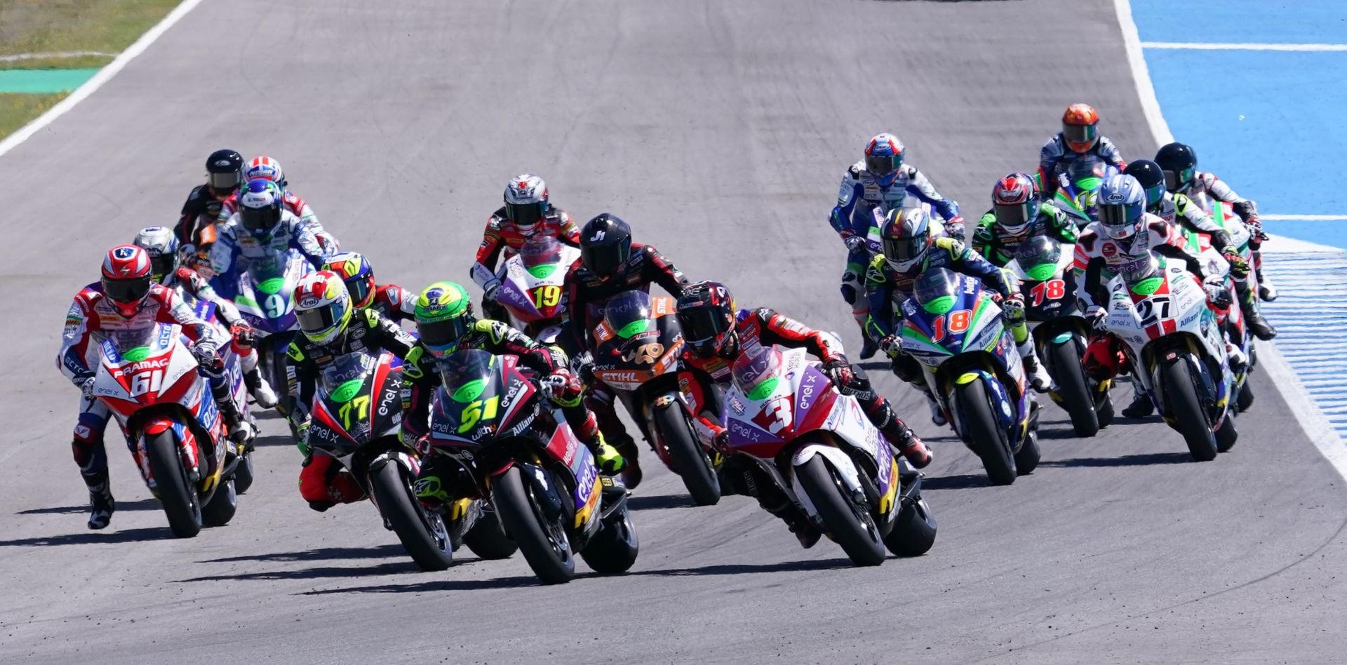 The start of the MotoE race at Jerez. Photo courtesy Dorna.