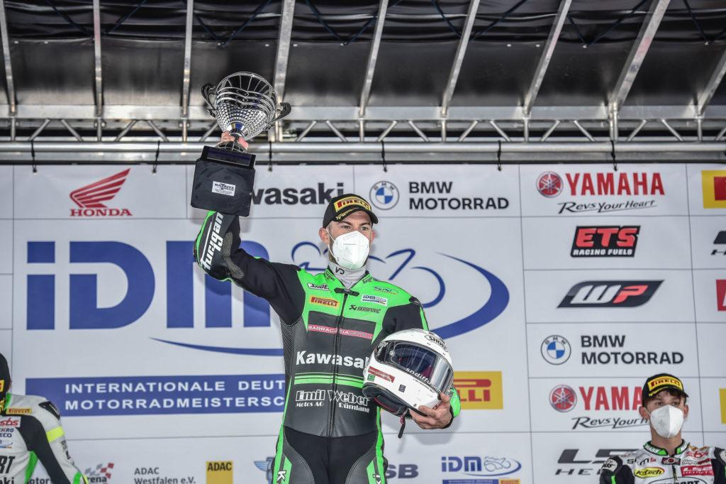 Valentin Debise on the podium at Oschersleben. Photo courtesy of Kawasaki Germany.