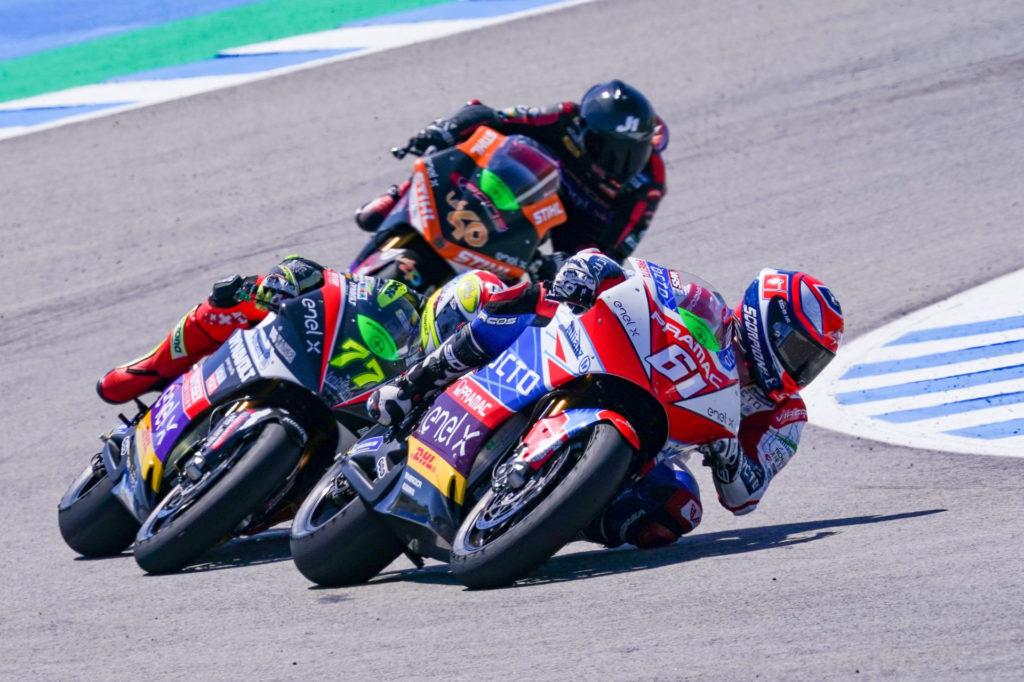 Alessandro Zaccone (61) leads Dominique Aegerter (77) and Jordi Torres (40) at Jerez. Photo courtesy Dorna.
