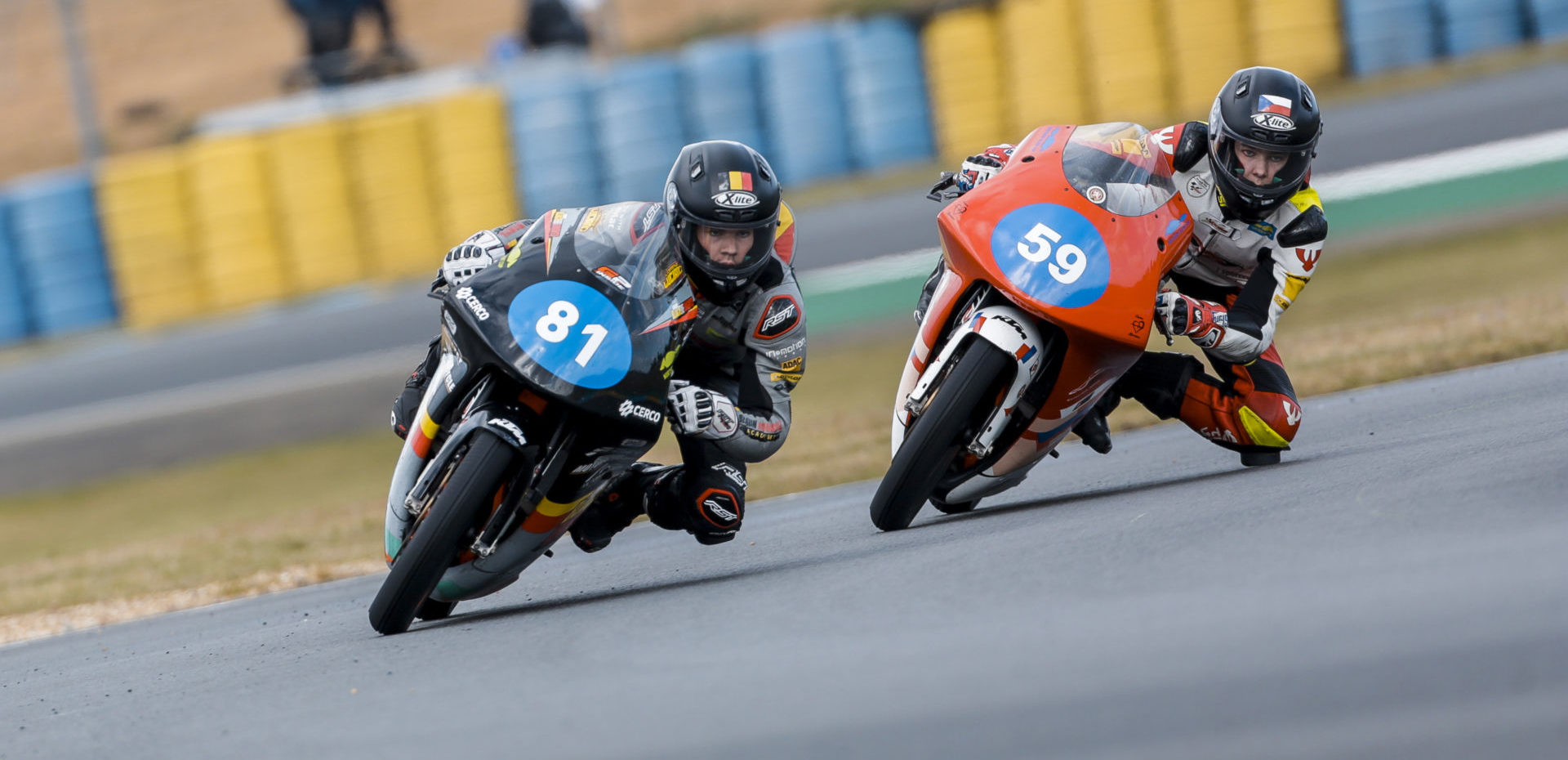 Lorenz Luciano (81) and Jakub Gurecky (59) are tied for the points lead in the Northern Talent Cup Championship heading into the Oschersleben round. Photo courtesy Dorna.
