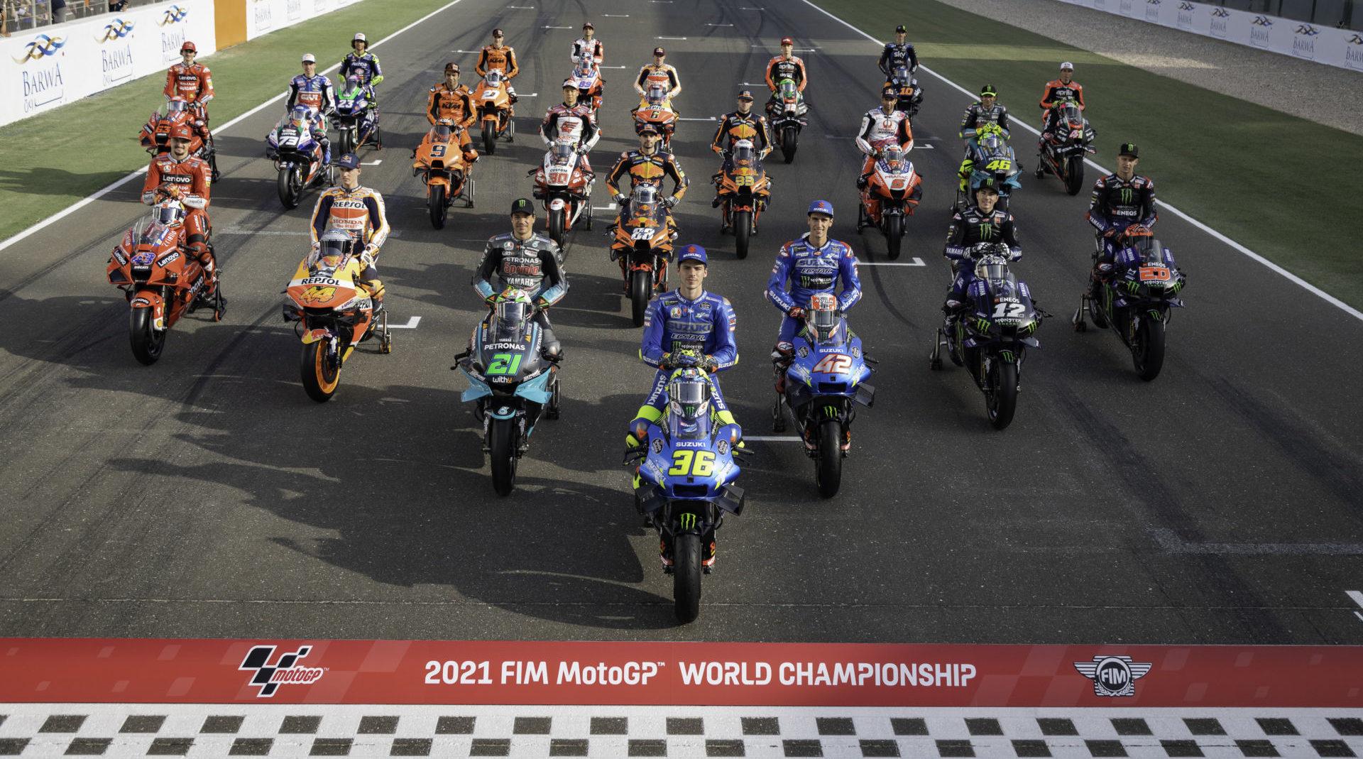 The 2021 MotoGP World Championship field of riders. Photo courtesy Dorna.