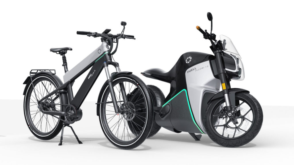 A FUELL Flluid-1S electric bicycle (left) and a FUELL Fllow electric motorcycle (right). Photo courtesy FUELL.