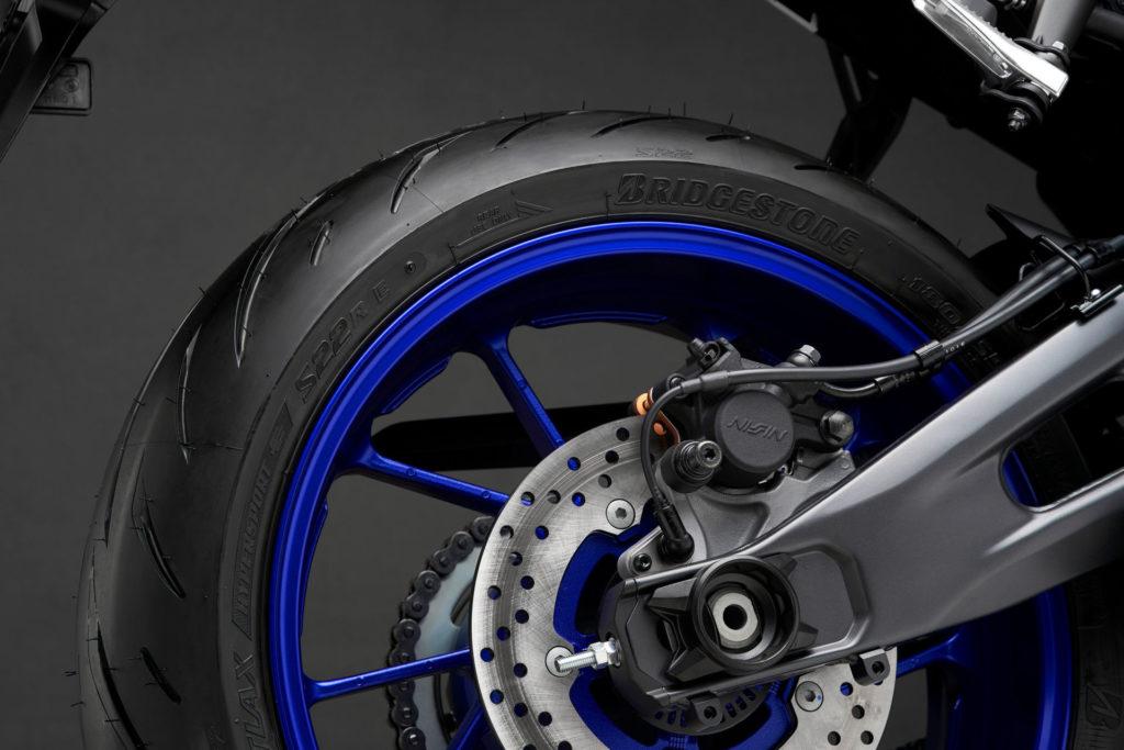 A Bridgestone BATTLAX HYPERSPORT S22 rear tire on a 2022-model Yamaha YZF-R7. Photo courtesy Yamaha.