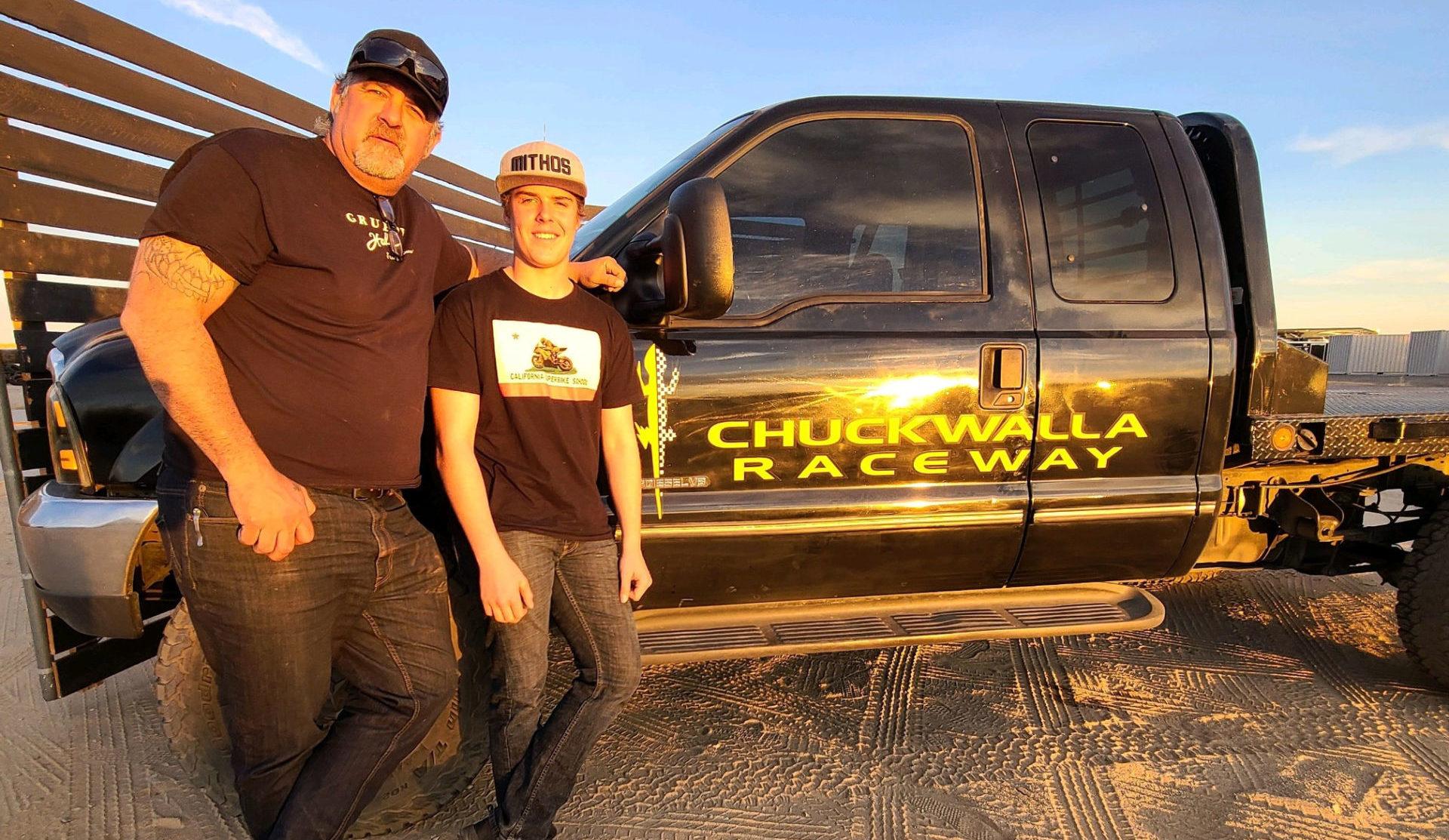 MotoAmerica Supersport racer Rocco Landers (right) with Chuckwalla Valley Raceway President Micky Grana (left). Photo courtesy Landers Racing.