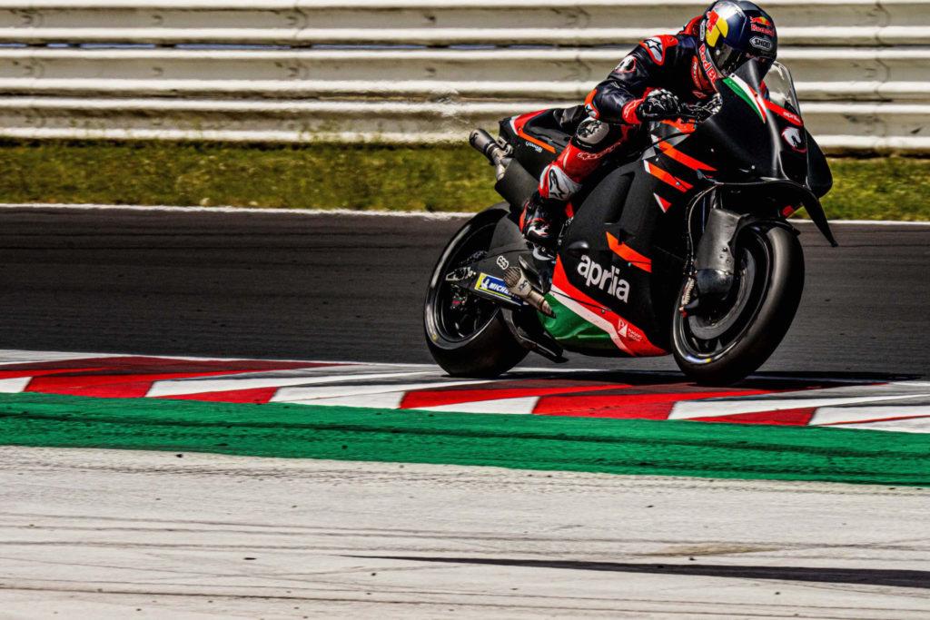 Andrea Dovizioso testing an Aprilia RS-GP at Misano. Photo courtesy Aprilia.