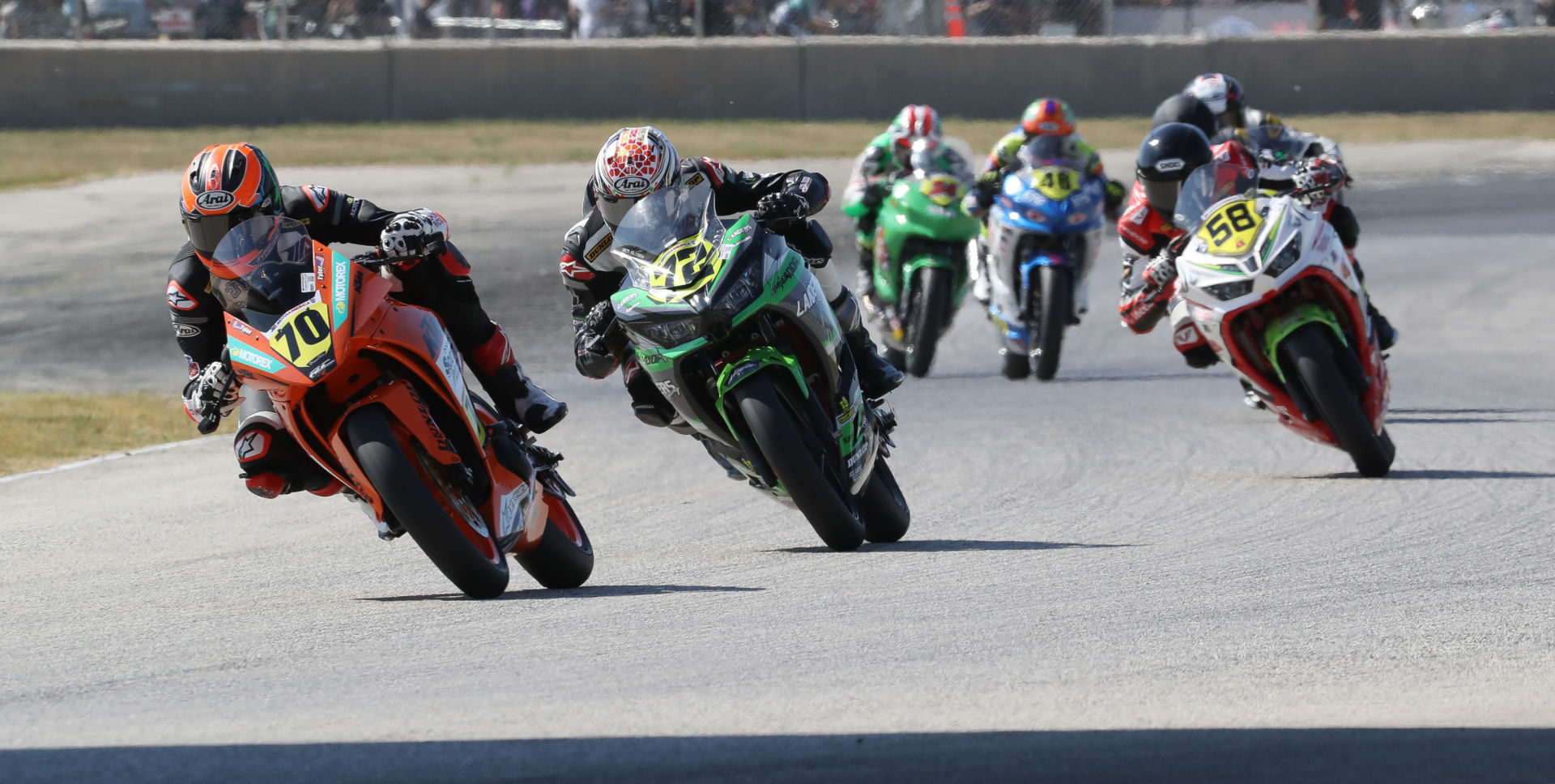 Tyler Scott (70) leads Benjamin Gloddy (72) by just four points in the battle for the SportbikeTrackGear.com Junior Cup Championship as the series heads to the Pacific Northwest and Ridge Motorsports Park this weekend. Photo by Brian J. Nelson.