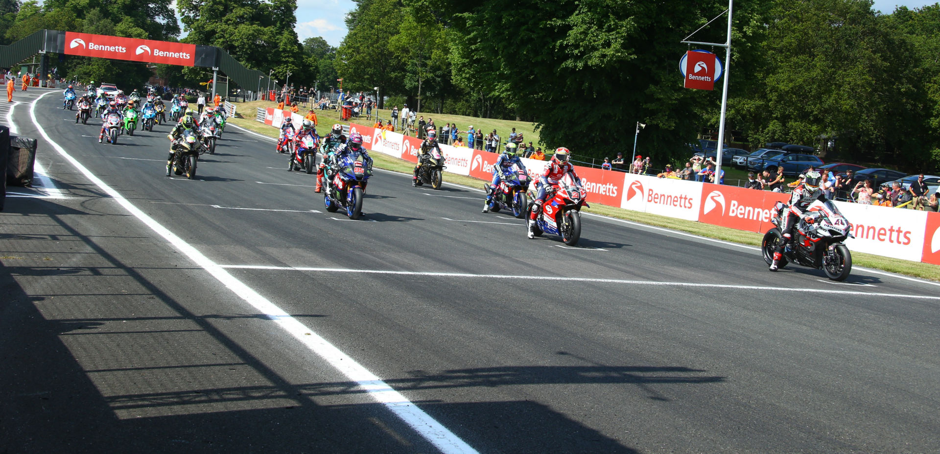 The grid before the start of British Superbike Race One at Oulton Park. Photo courtesy MSVR.