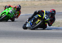 Bryce Prince (74) leads Jack Bakken (29) early in the 12-lap RiderzLaw Gold Cup race at Buttonwillow Raceway Park. Photo by CaliPhotography.com, courtesy CRA.