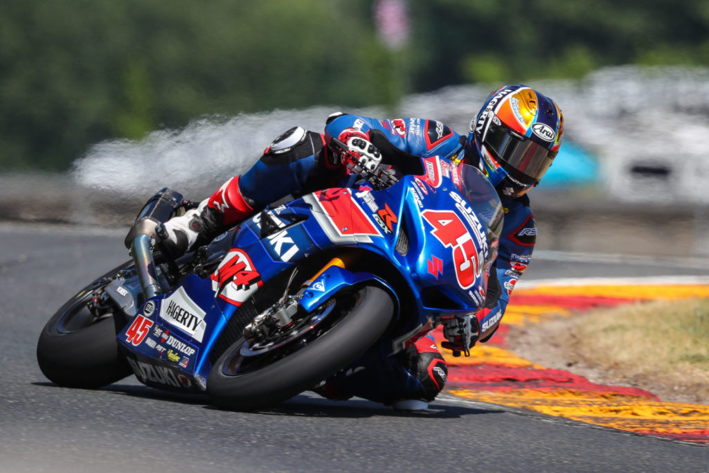 Cam Petersen (45) delivered an impressive performance with two Superbike podium finishes. Photo by Brian J. Nelson, courtesy Suzuki Motor USA.