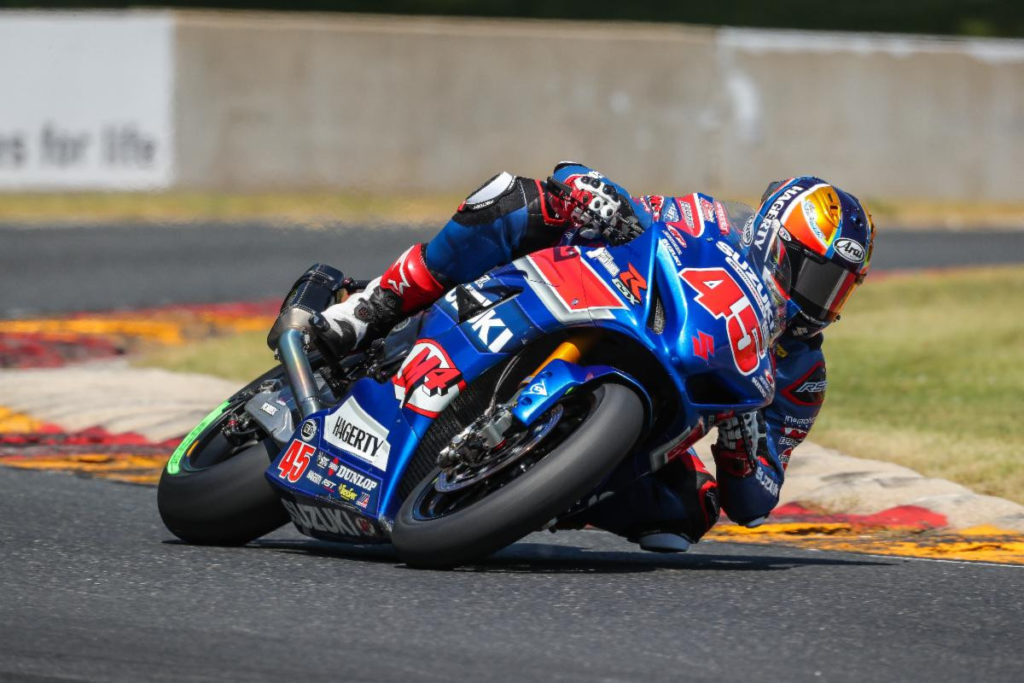 Cameron Petersen (45) earned his first MotoAmerica Superbike podium in Race One at Road America. It was also Team Hammer's 300th podium in an AMA Pro/MotoAmerica sanctioned competition. Photo by Brian J. Nelson, courtesy Team Hammer.