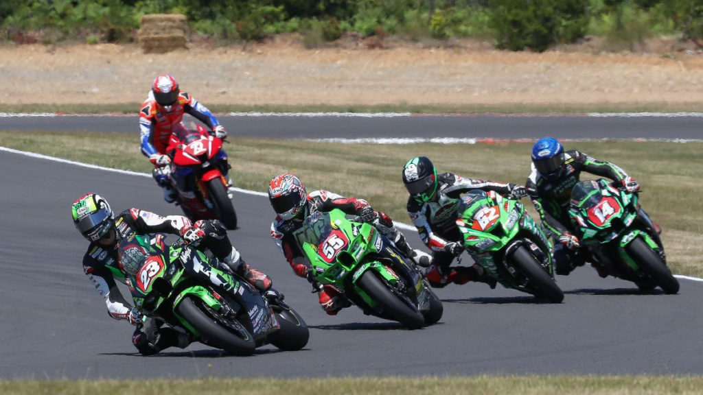Corey Alexander (23) came from behind to win in Stock 1000 Race One. Photo by Brian J. Nelson, courtesy MotoAmerica.