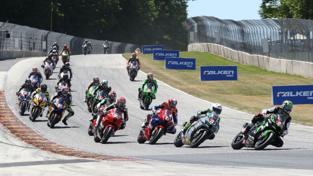 Corey Alexander (23) leads the Stock 1000 field into Turn Five Sunday at Road America. Photo by Brian J. Nelson.