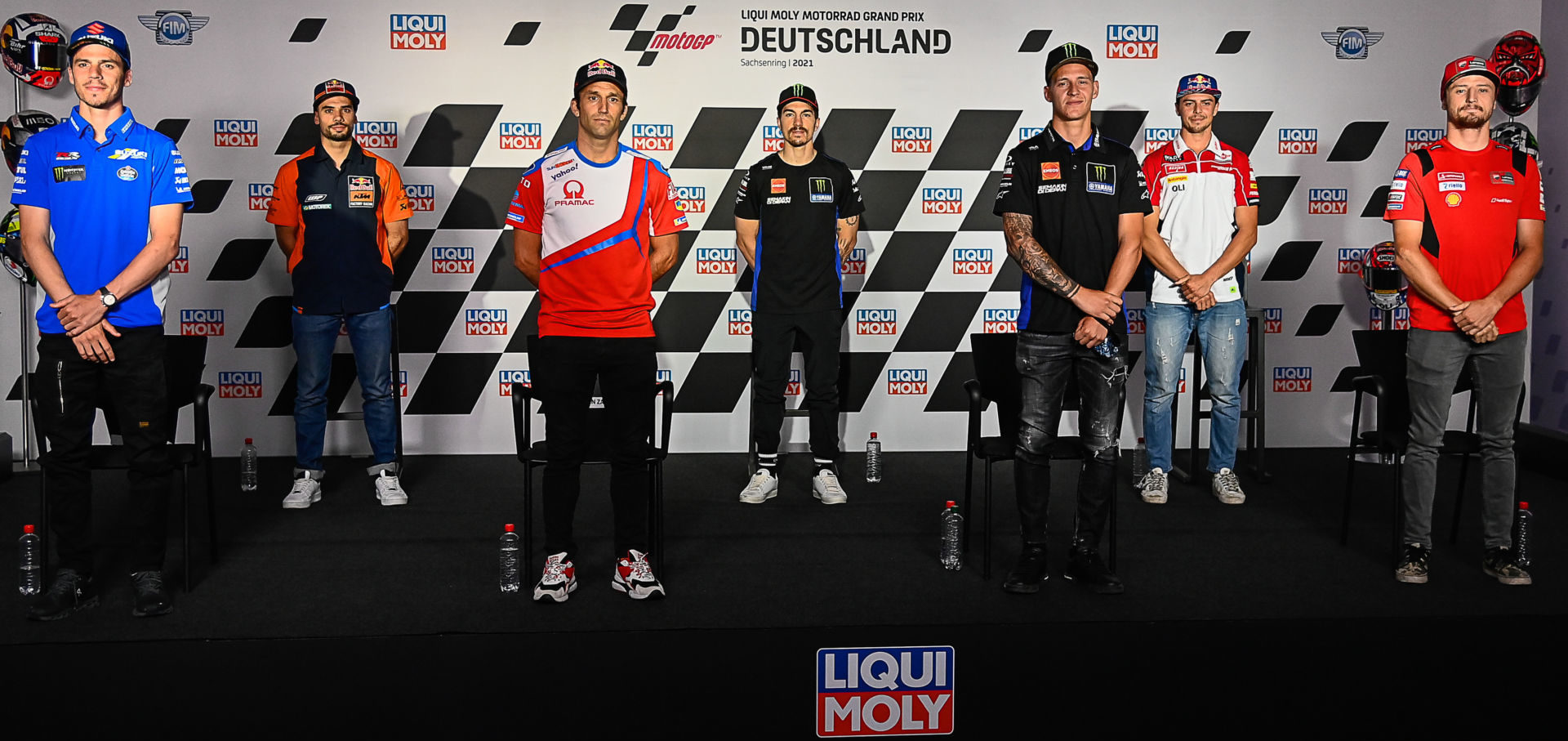 (From left) Joan Mir, Miguel Oliveira, Johann Zarco, Maverick Viñales, Fabio Quartararo, Fabio Di Giannantonio and Jack Miller. Photo courtesy Dorna.