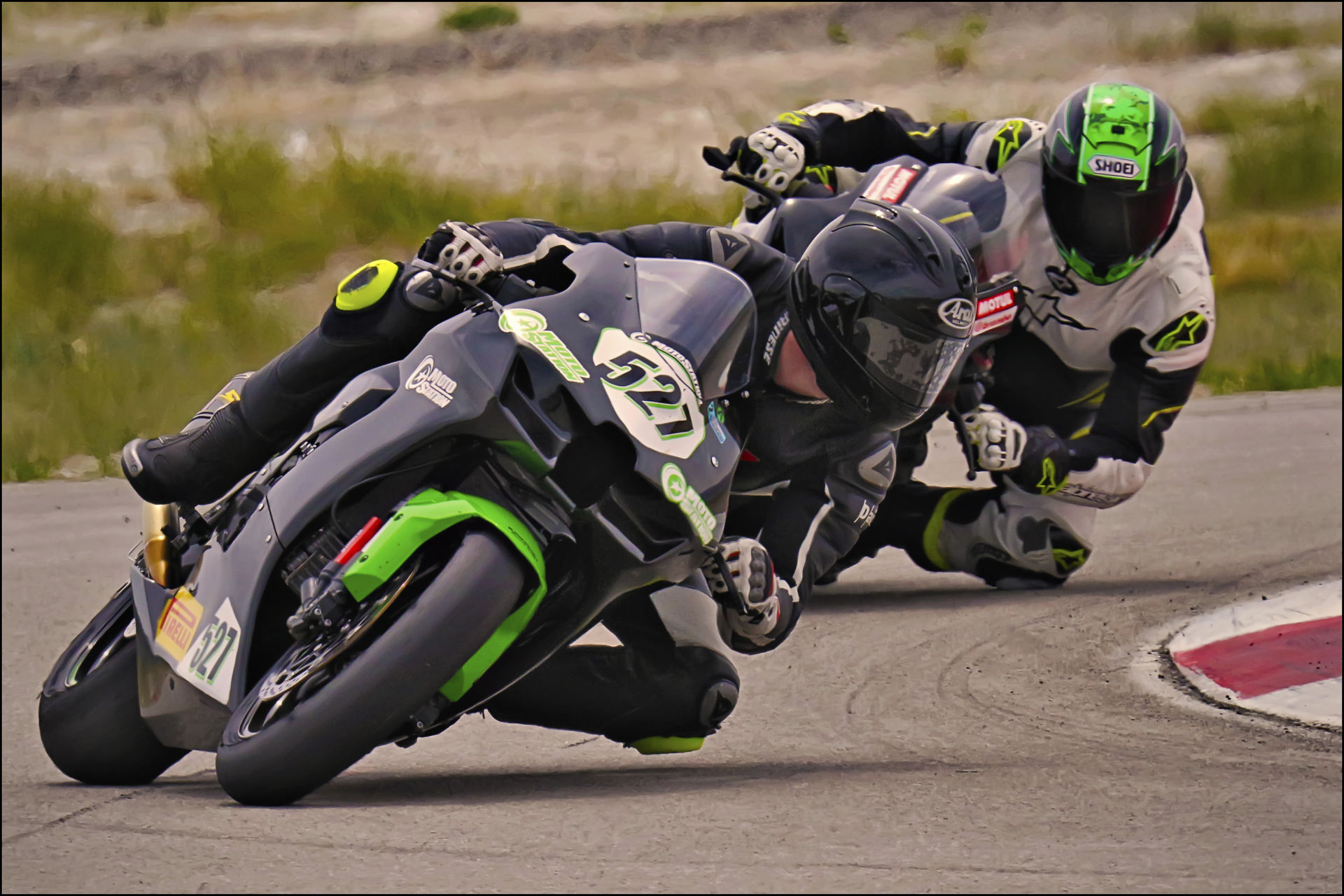 Jerry Hicks (527) holds off Michael Bradshaw in Round 2 of the UtahSBA King of the Mountain race at the Utah Motorsports Campus' West Track. Photo by Steve Midgley, Courtesy UtahSBA.