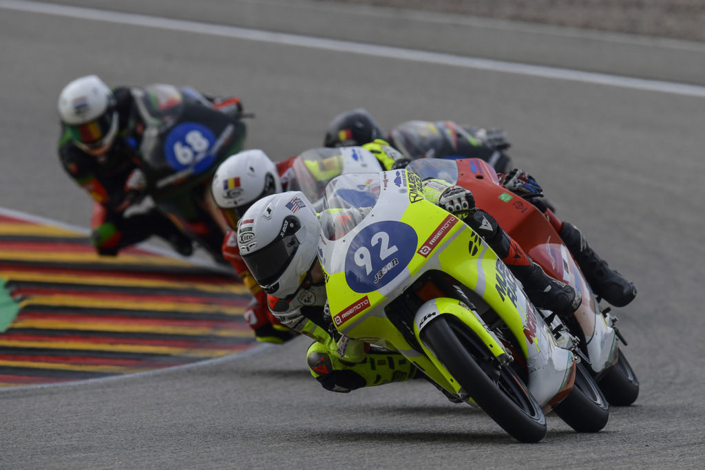 Hungarian-American Rossi Moor (92) leading Northern Talent Cup Race One at Sachsenring. Photo courtesy Dorna.