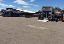 The Fresh N' Lean Attack Performance Yamaha (left) and Westby Racing (right) transporters in the paddock at Brainerd International Raceway's Competition Road Course in Minnesota.