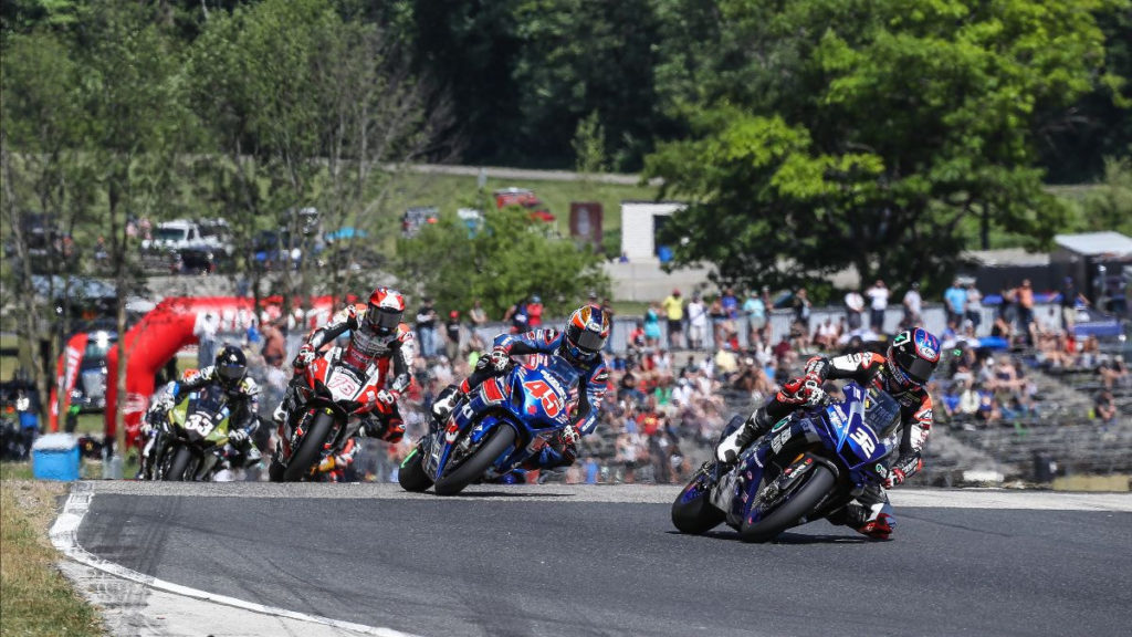 Jake Gagne (32) leads Cameron Petersen (45), Loris Baz (76) and Kyle Wyman (33) early in MotoAmerica Superbike Race Two. Photo by Brian J. Nelson, courtesy MotoAmerica.