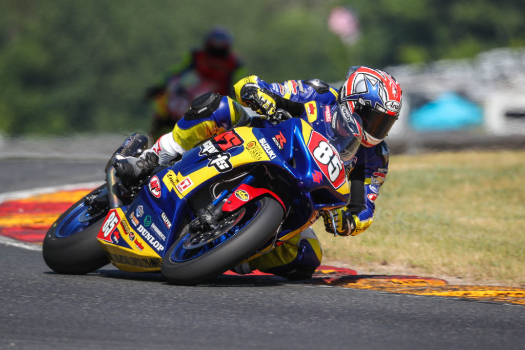 Jake Lewis (85) earned a hard-fought Stock 1000 victory on his race-winning Suzuki GSX-R1000. Photo by Brian J. Nelson, courtesy Suzuki Motor USA.