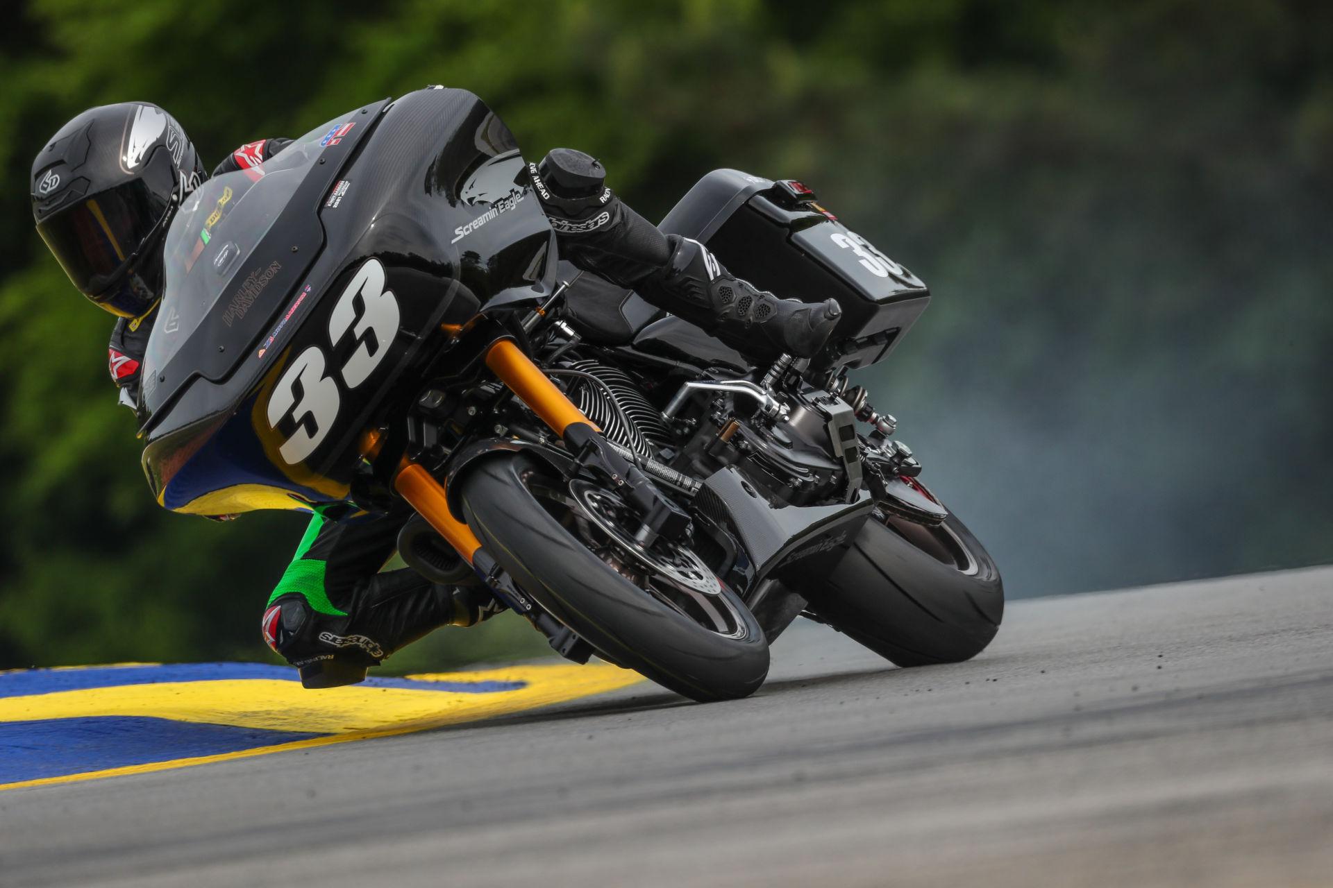 Kyle Wyman (33) on his Screamin' Eagle Harley-Davidson Road Glide, as seen at Road Atlanta. Photo by Brian J. Nelson.
