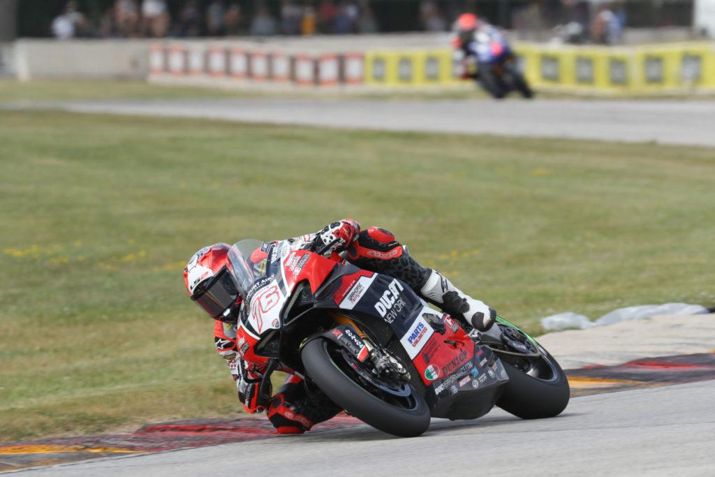 Loris Baz (76) at speed at Road America. Photo courtesy Ducati North America.