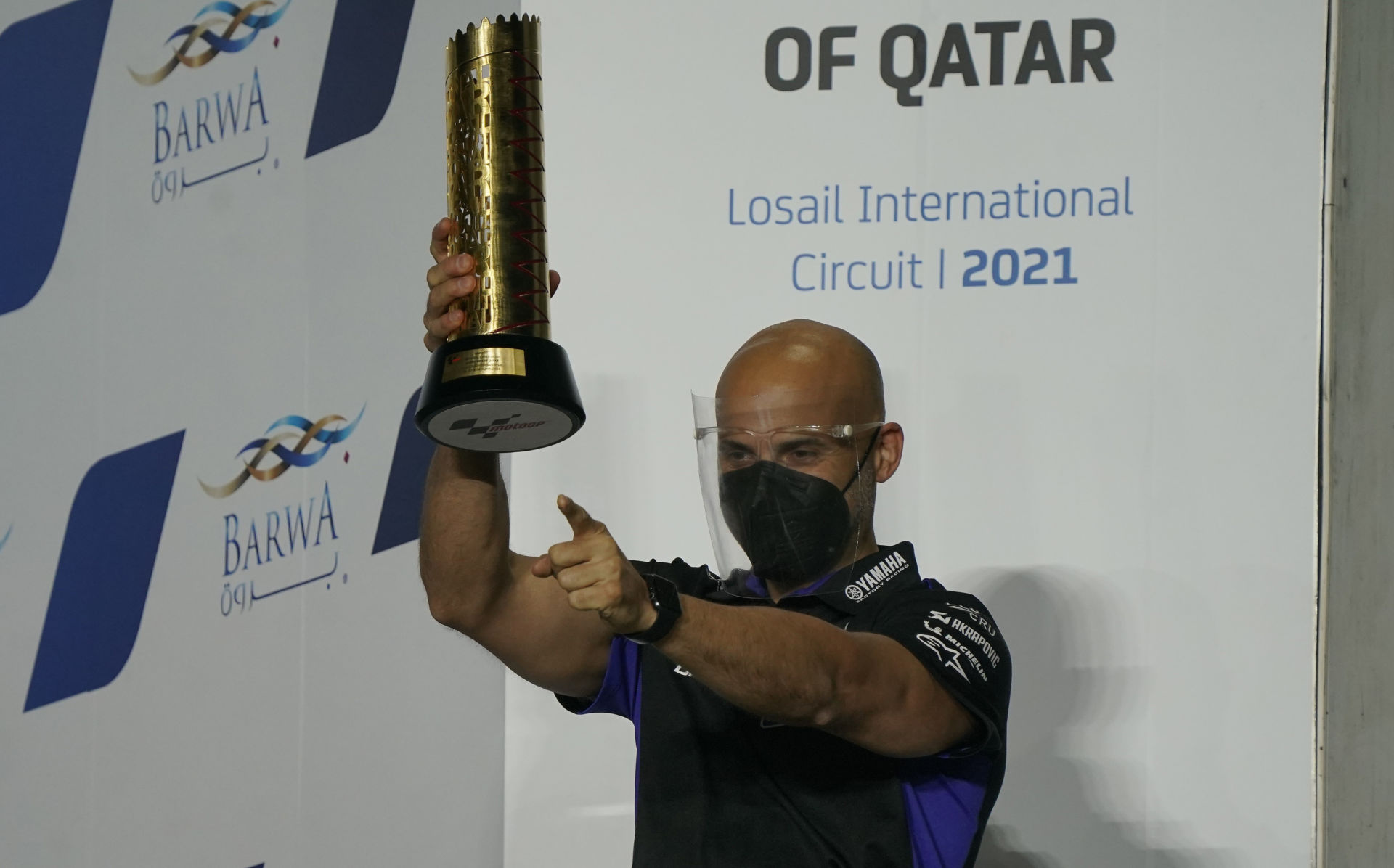 Esteban García Amoedo on the MotoGP podium, after Maverick Vinales won the opening race of the 2021 season in Qatar. Photo courtesy Monster Energy Yamaha.