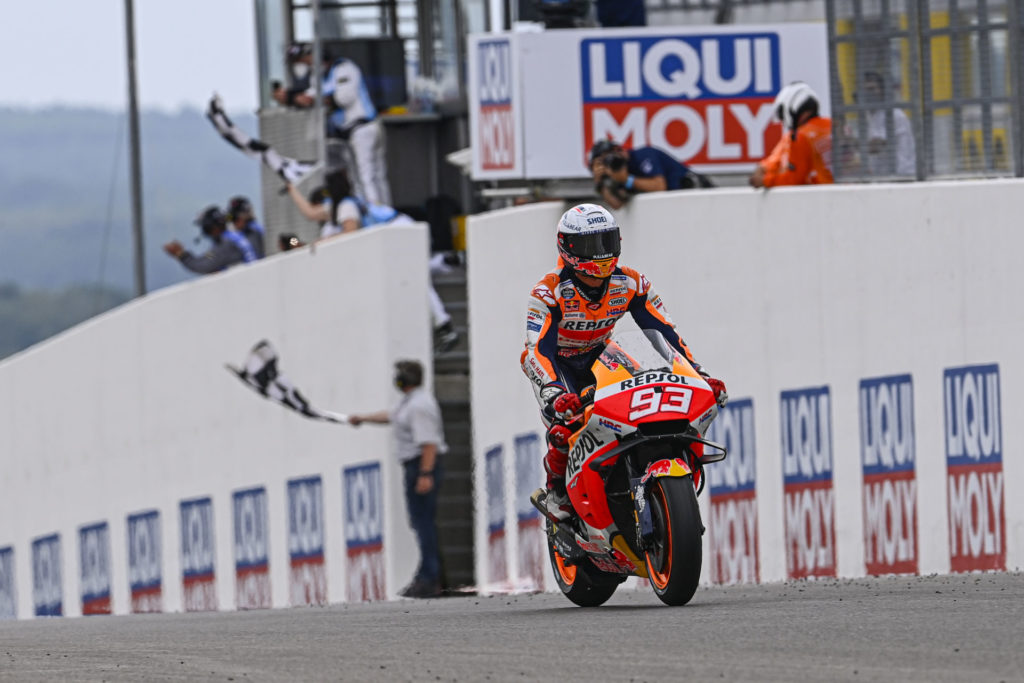 Marc Marquez (93), after taking the checkered flag at Sachsenring. Photo courtesy Dorna.