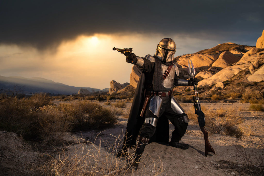 A science fiction fan dressed as the Star Wars character The Mandalorian. Photo courtesy SWOOP GP.