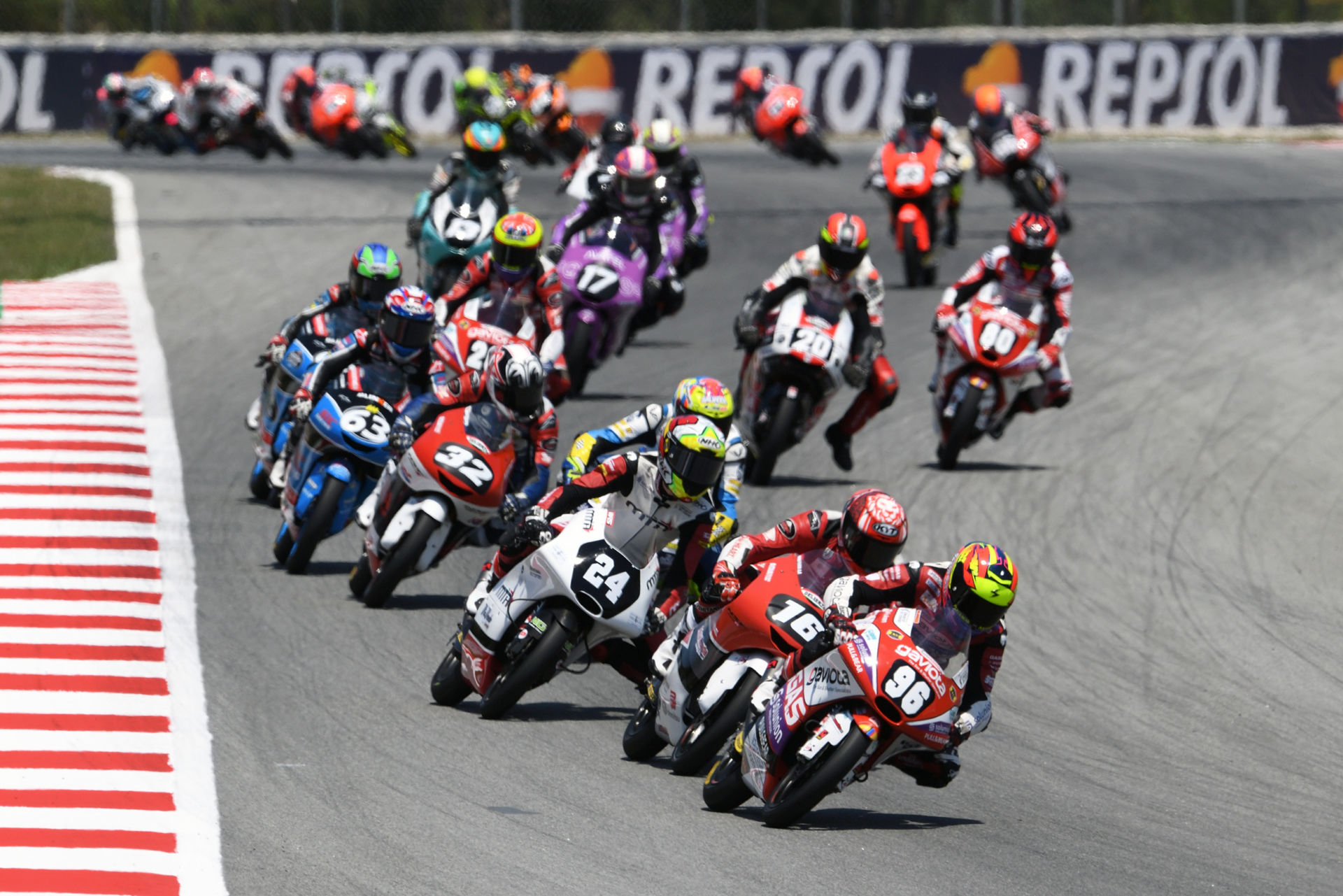 Daniel Holgado (96) leads the start of Moto3 Race Two at Catalunya. Courtesy FIM CEV Repsol Press Office.