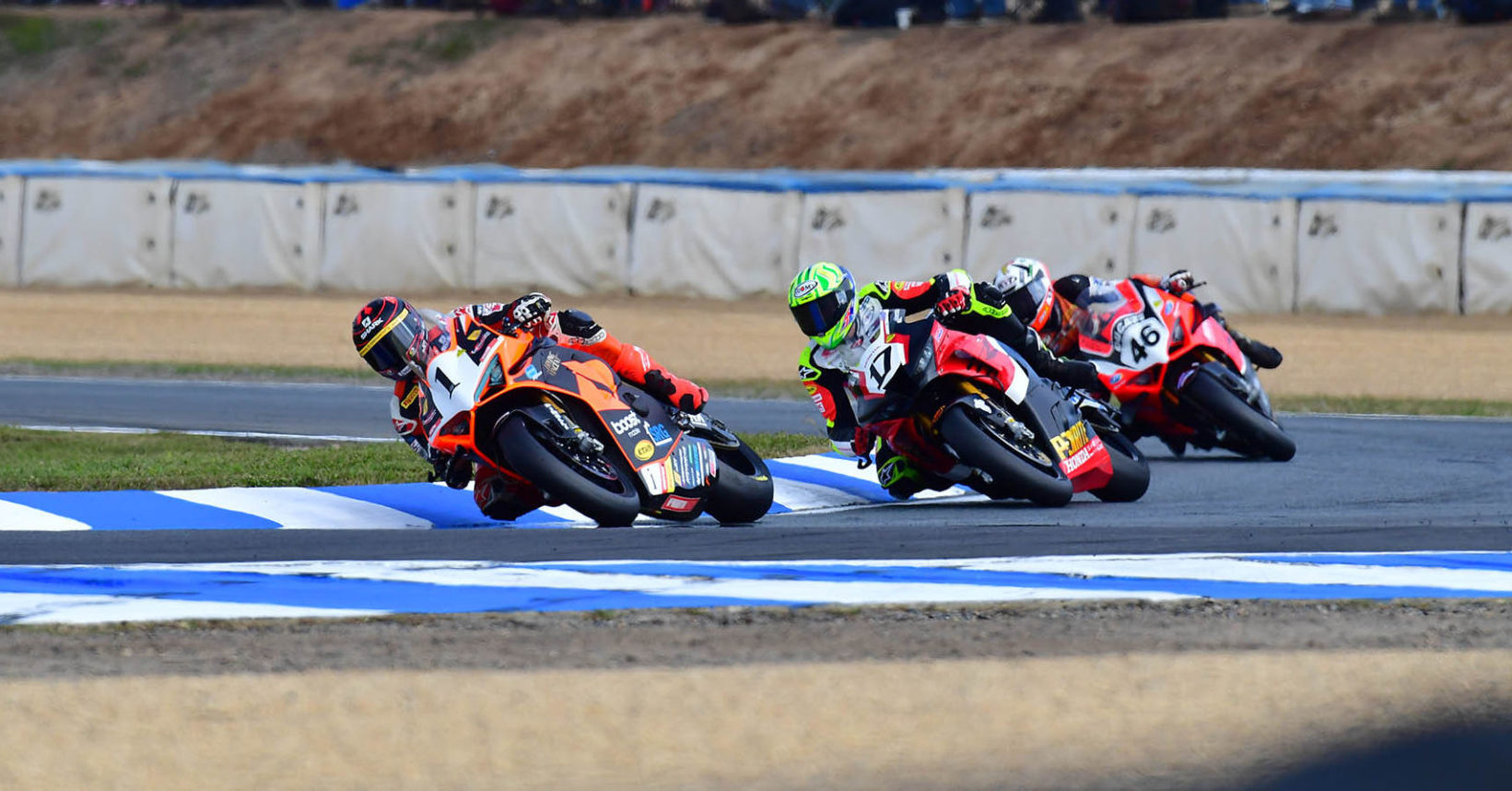 Wayne Maxwell (1), Troy Herfoss (17), and Mike Jones (46) in action at a previous ASBK round. Photo courtesy ASBK/Optikal.