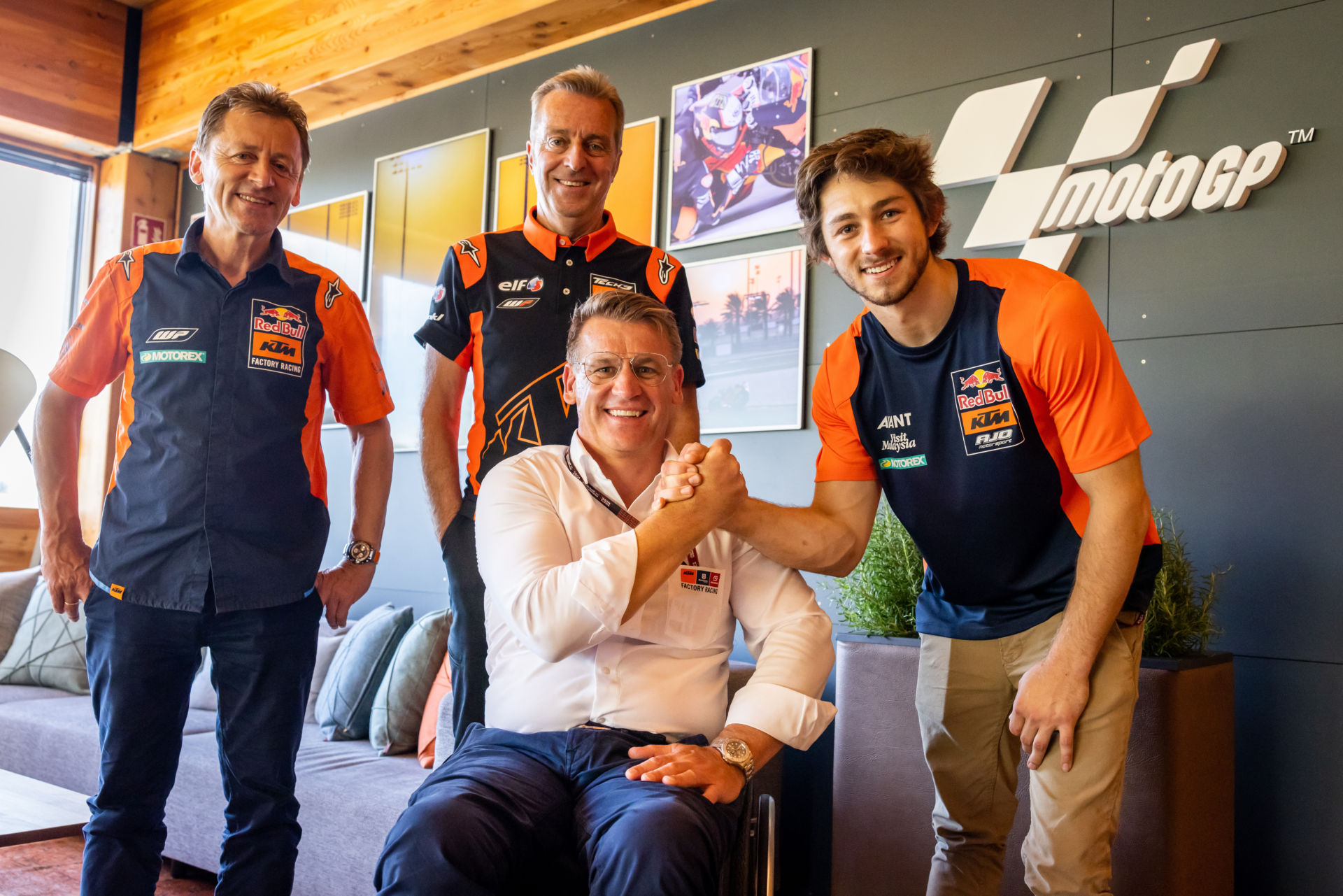 (From left): Red Bull KTM Team Manager Mike Leitner, Tech3 Racing Team Owner Hervé Poncharal, KTM Motorsports Director Pit Beirer, and Remy Gardner. Photo by Polarity Photo, courtesy KTM.