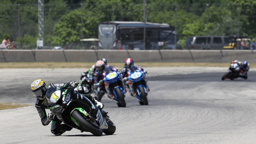 Richie Escalante (1) built an early lead in Supersport Race Two. Photo by Brian J. Nelson.
