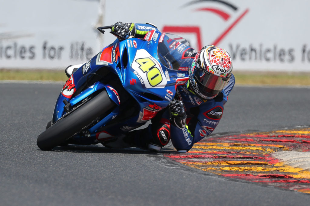 Sean Dylan Kelly (40) left it all out on the track and maintained his points lead in the Supersport class. Photo by Brian J. Nelson, courtesy Suzuki Motor USA.