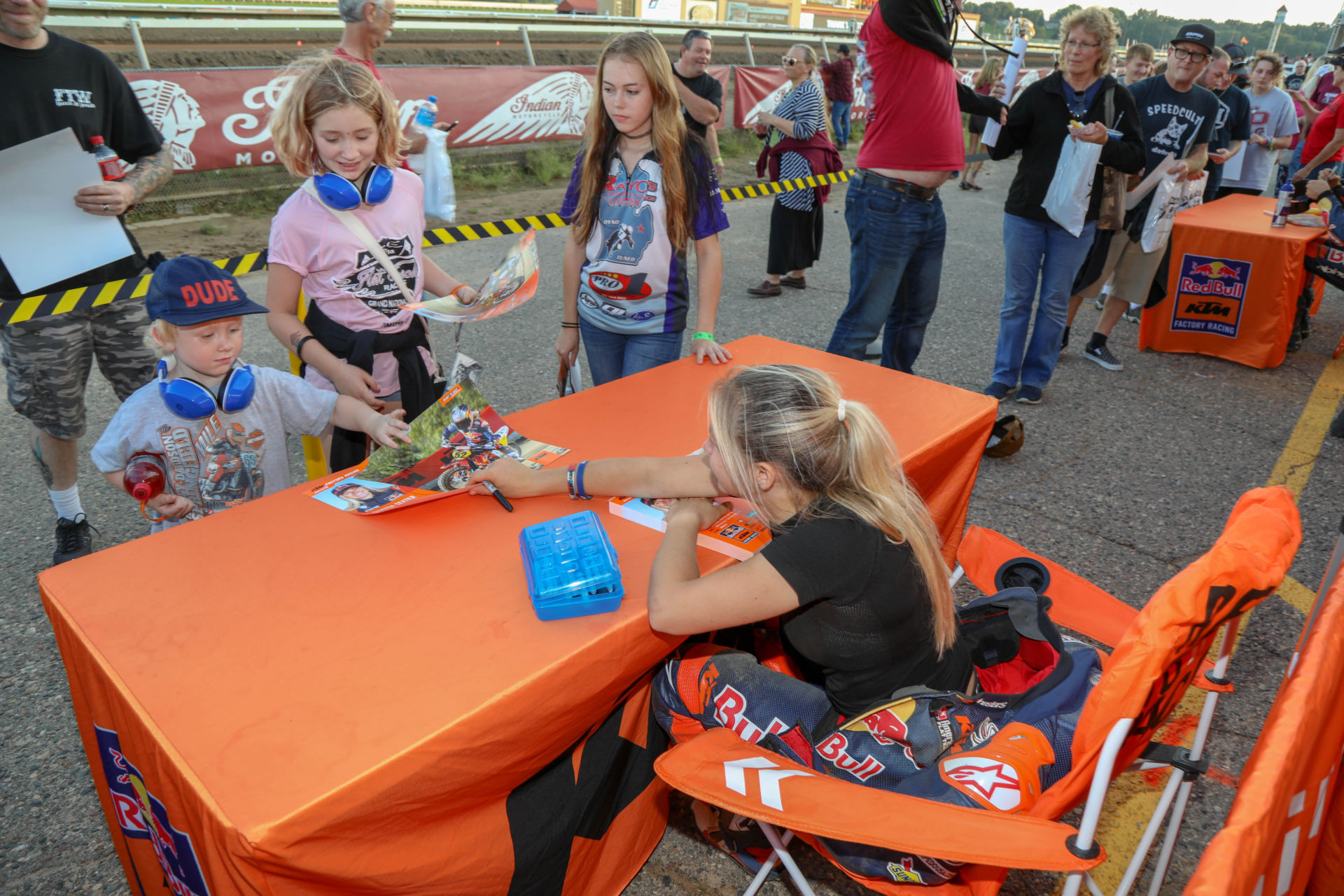 Shayna Texter-Bauman signing autographs for fans at an American Flat Track event in 2019. Photo courtesy AFT.